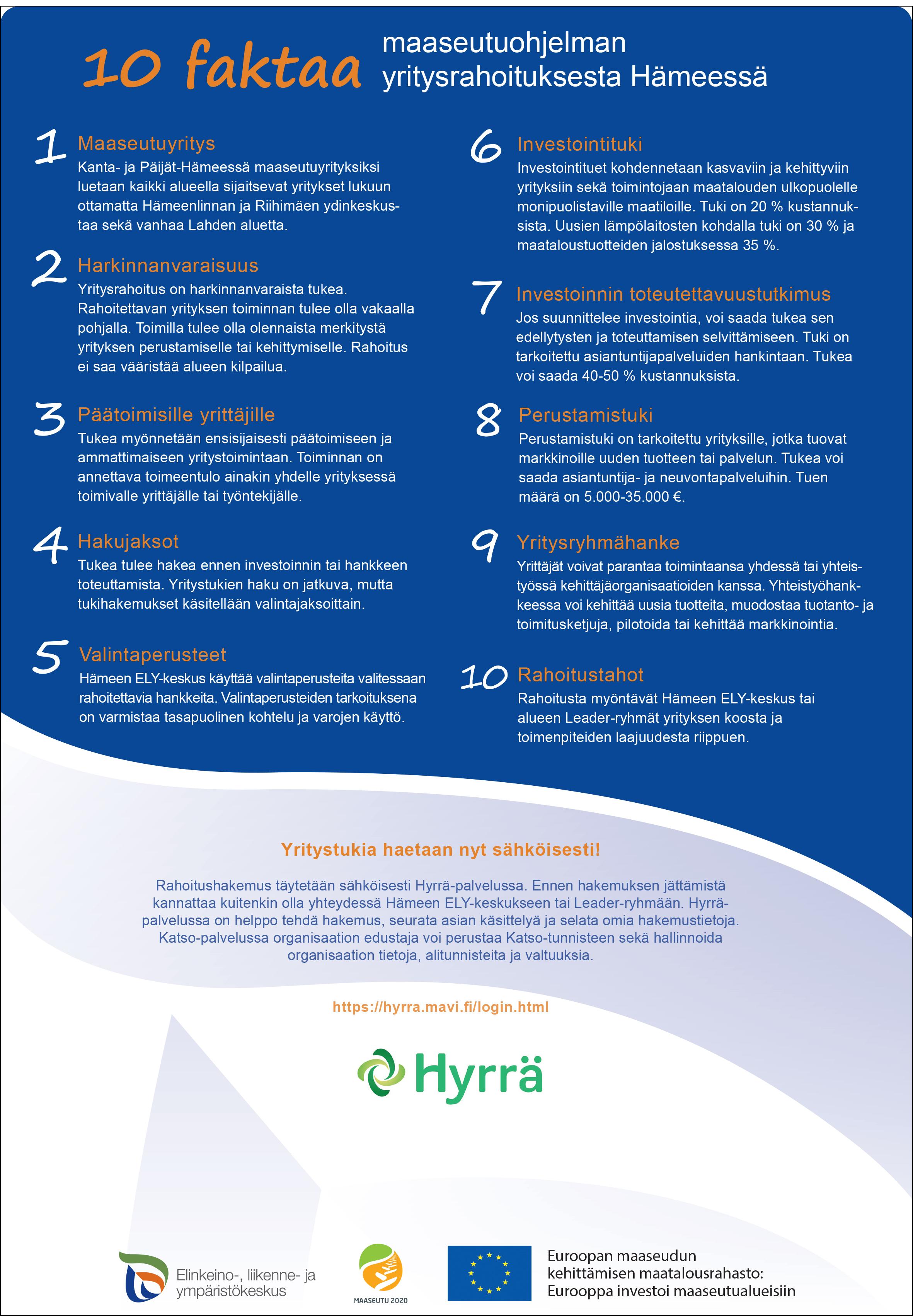 Esite - Kymmenen faktaa maaseutuohjelman yritysrahoituksesta. Kaikki esitteessä olevat tiedot löydät tältä sivulta.