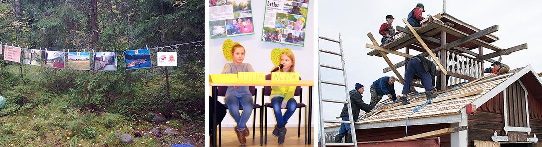 Kuvia erilaisista hankkeista: taidetta metsässä, lapsia koulun paneelissa sekä työmiehiä uusimassa kattoa.